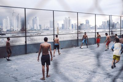 A game of football in Panama City